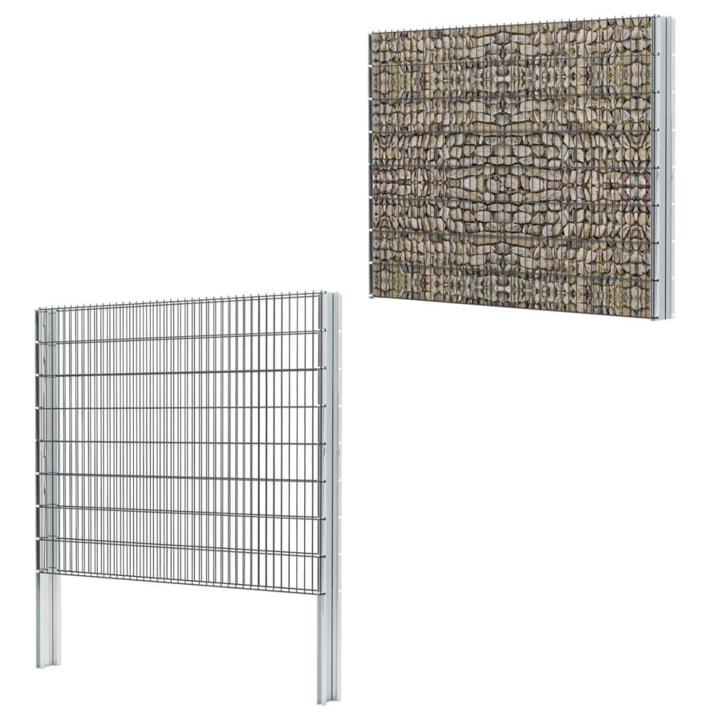 vidaXL-2D-Gabion-Fence-Set-2008x1630-mm-8-m-Grey-Garden-Stone-Barrier-Mesh-Wall