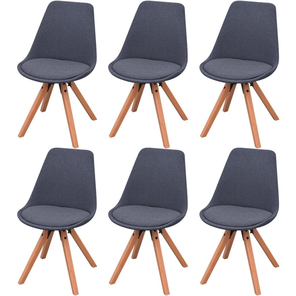 Vidaxl sillas de comedor 6 unidades tela gris oscura - Tela para sillas de comedor ...
