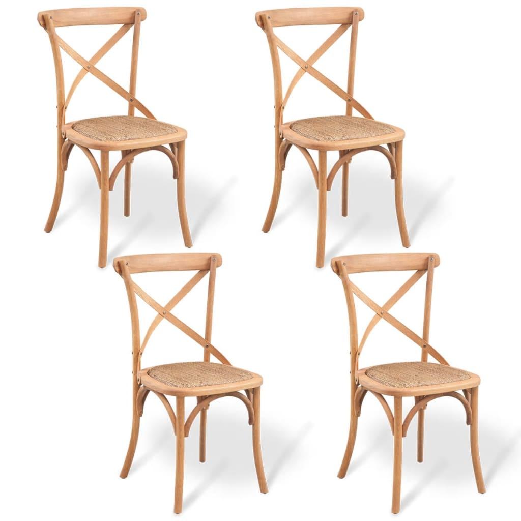 Vidaxl sillas de comedor de madera maciza de roble 4 uds for Comedor de madera 4 sillas