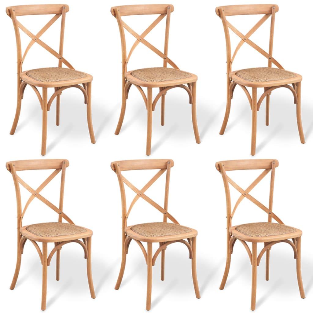 vidaXL Krzesło do jadalni 6 szt. z jasnego drewna dębowego 48x45x90 cm