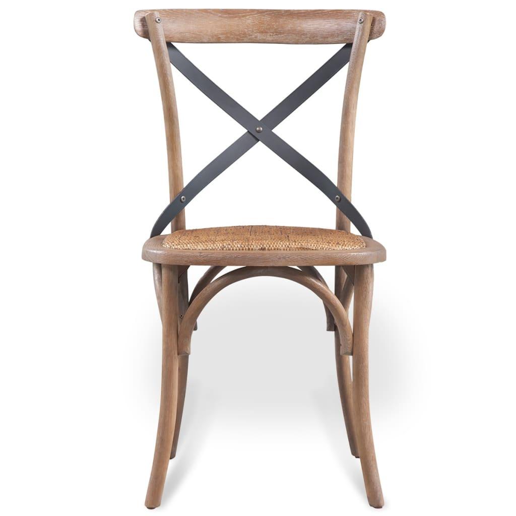 Vidaxl sillas de comedor de madera maciza de roble 2 uds for Sillas madera maciza para comedor