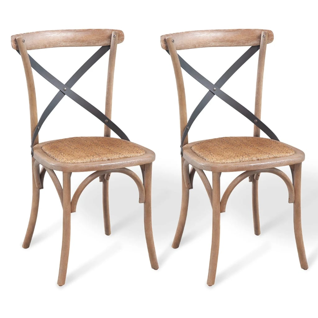 Vidaxl sillas de comedor de madera maciza de roble 2 uds for Sillas roble para comedor