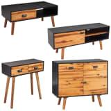 vidaXL Four Piece Living Room Furniture Set Solid Acacia Wood