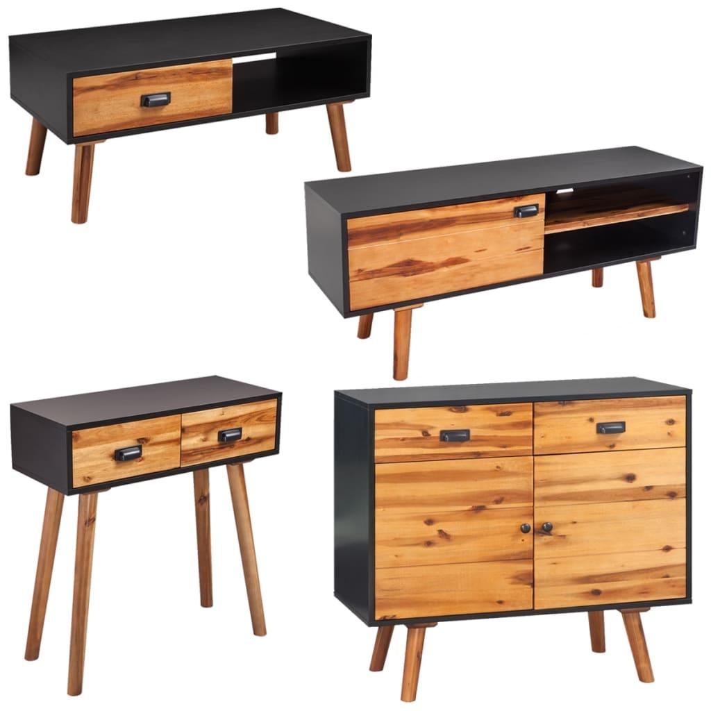 Afbeelding van vidaXL Woonkamer meubelset massief acaciahout 4-delig