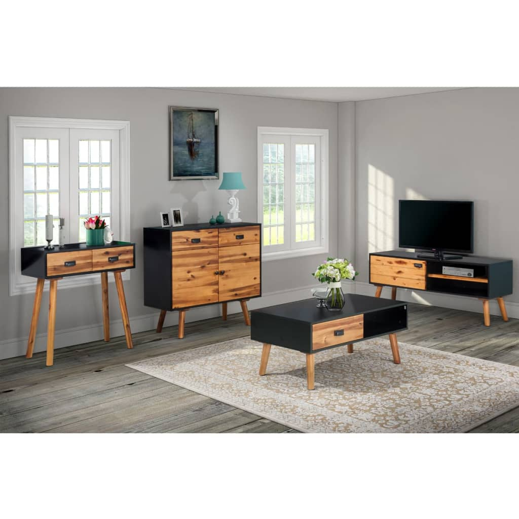 solid living room furniture vidaxl four living room furniture set solid acacia 17646