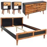 vidaXL Set de muebles de dormitorio 4 piezas acacia maciza 180x200 cm