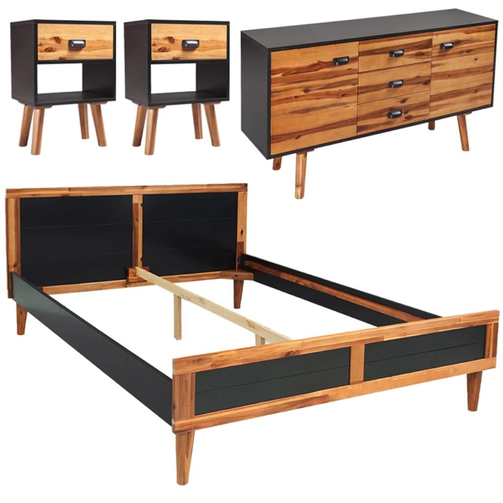 Afbeelding van vidaXL Slaapkamer meubelset 180x200 cm massief acaciahout 4-delig