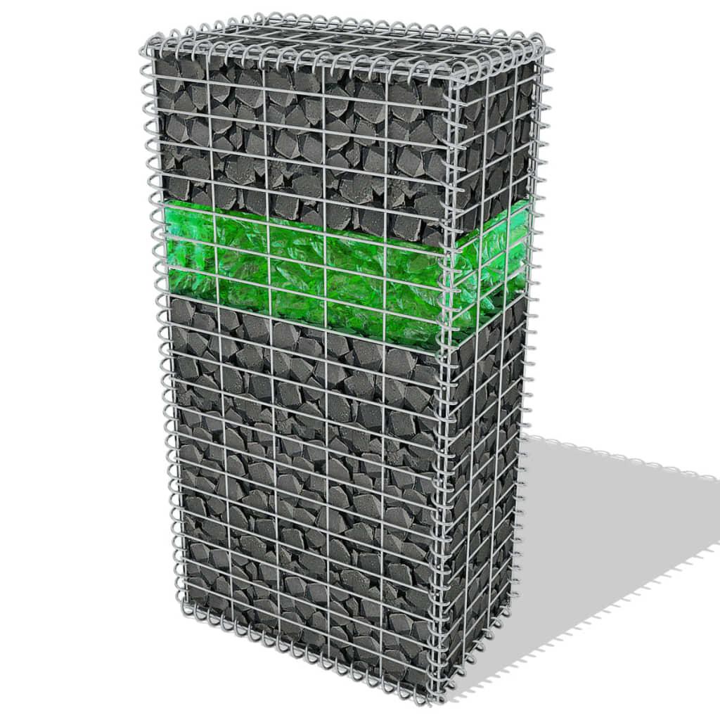 vidaXL kerti gabion szett LED lámpával fémráccsal üveg kövekkel