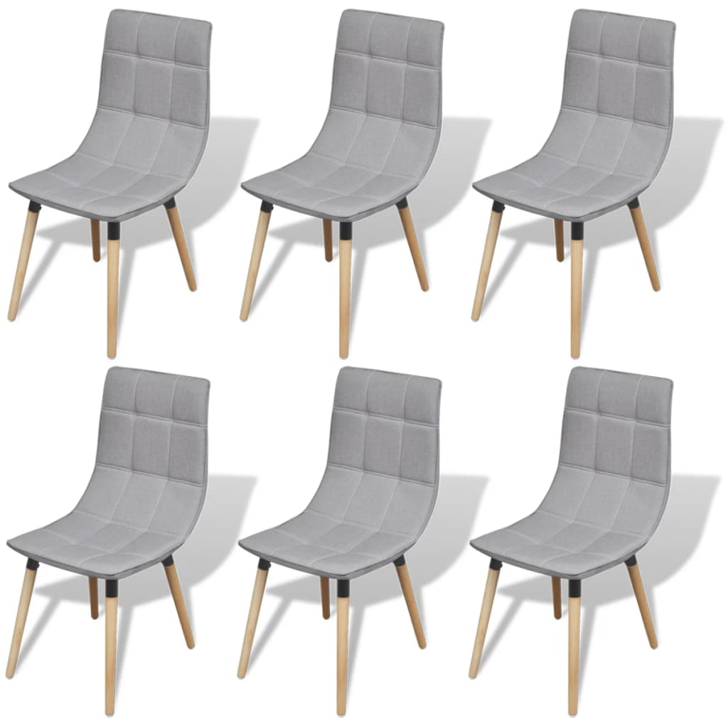 vidaXL Krzesła do jadalni, jasno szare, 6 szt.