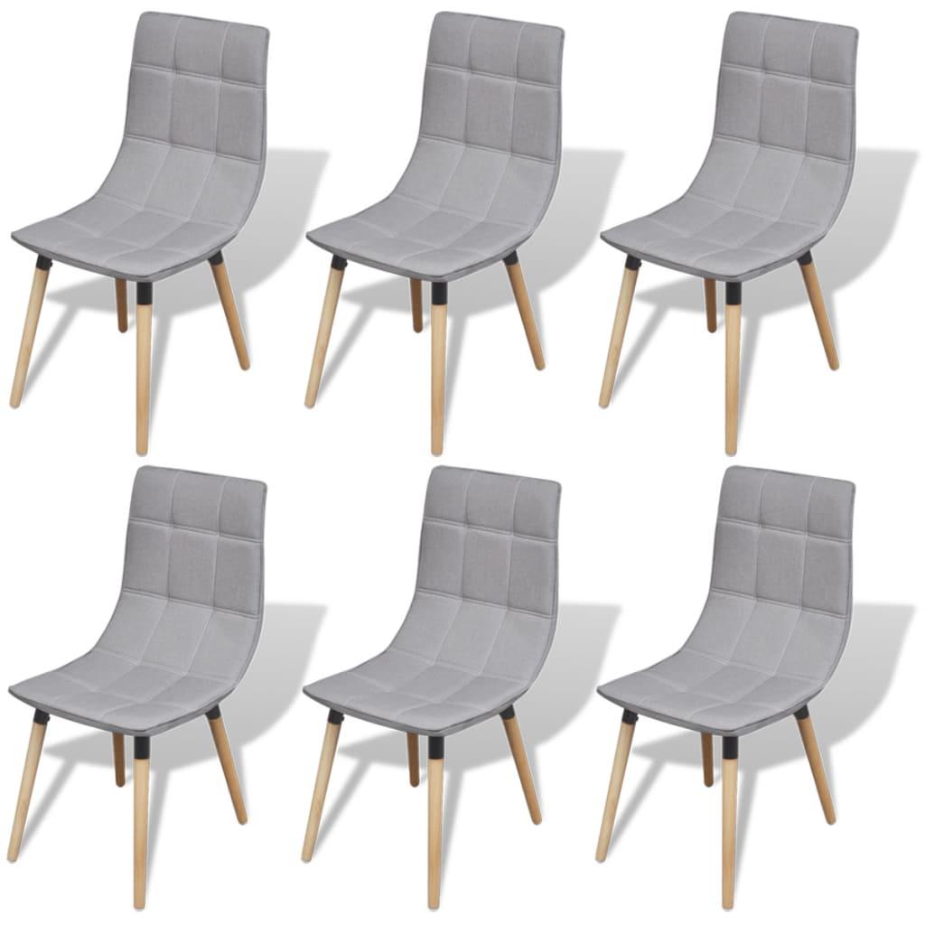 Vidaxl sillas de comedor 6 unidades gris claro for Sillas de comedor grises