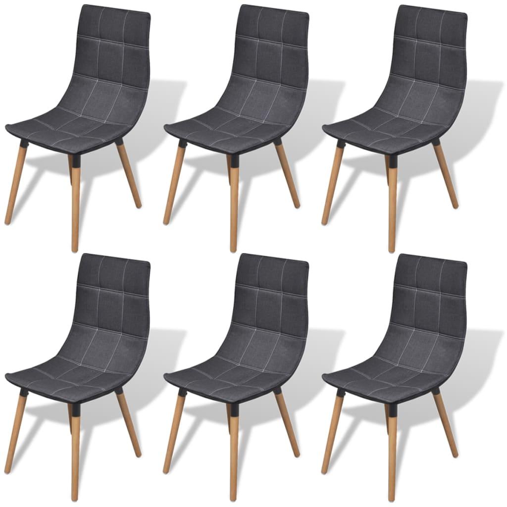 vidaXL Krzesła do jadalni, ciemnoszare, 6 szt.