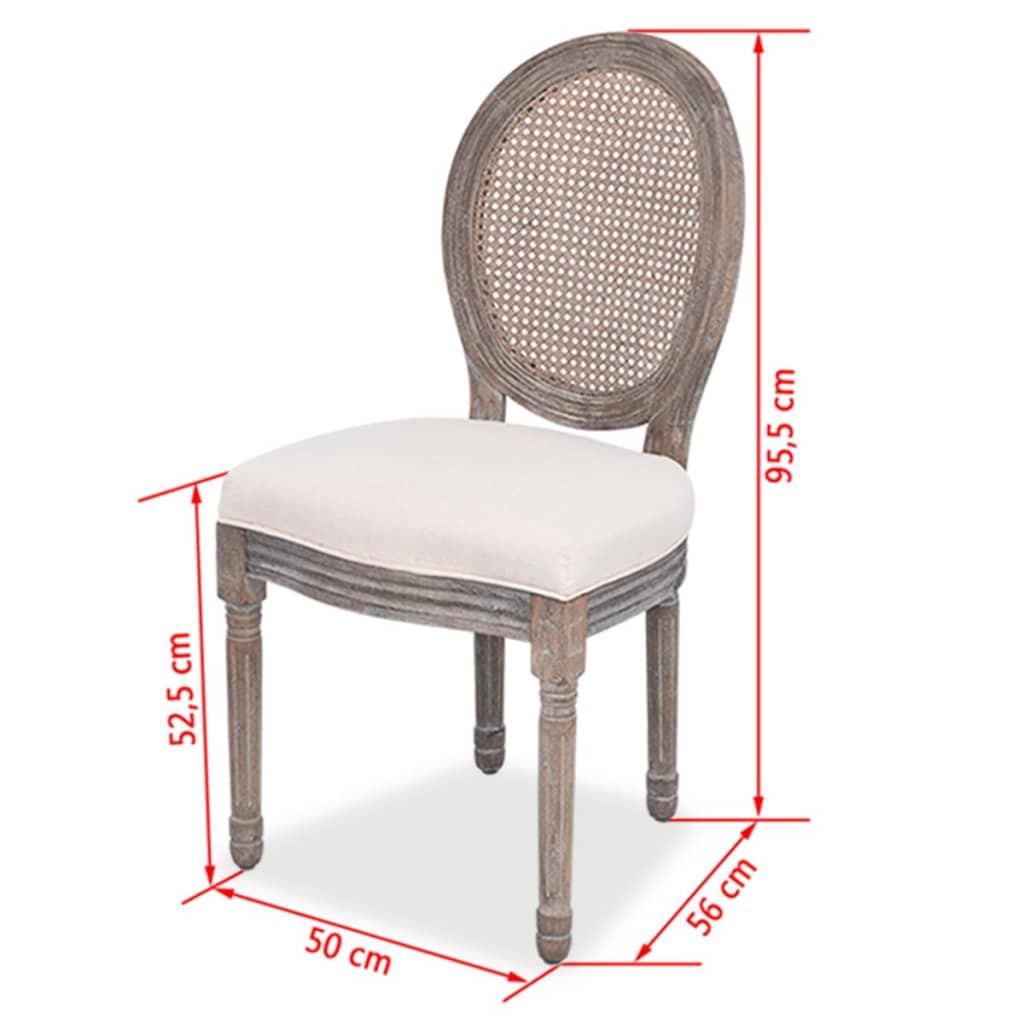 vidaxl esszimmerst hle 6 tlg leinenbezug und rattan 244089 244090 g nstig kaufen. Black Bedroom Furniture Sets. Home Design Ideas