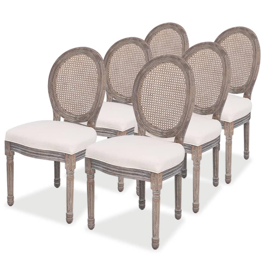 vidaXL Krzesła do jadalni, lniane/rattanowe, 6 szt.