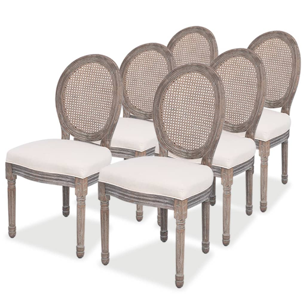 Vidaxl 6 pz sedie per sala da pranzo in tela e rattan for Sedie per pranzo