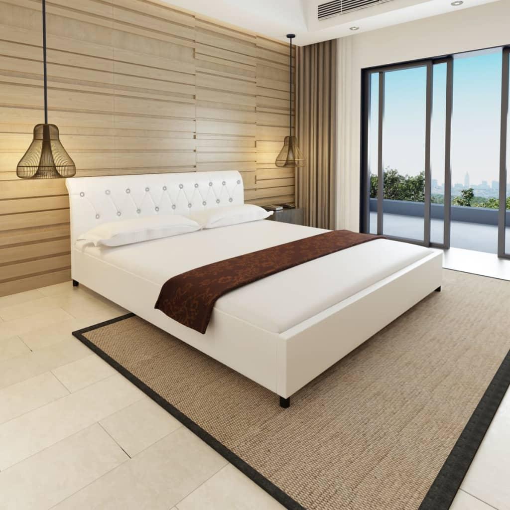 acheter vidaxl lit double avec matelas 180 x 200 cm cuir artificiel blanc pas cher. Black Bedroom Furniture Sets. Home Design Ideas