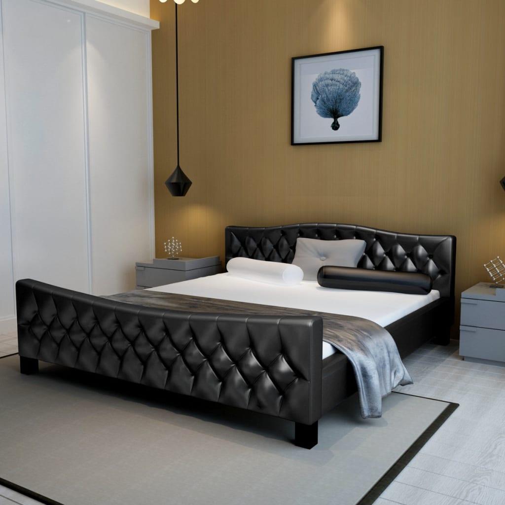 vidaXL 180x200 cm fekete műbőr franciaágy matraccal