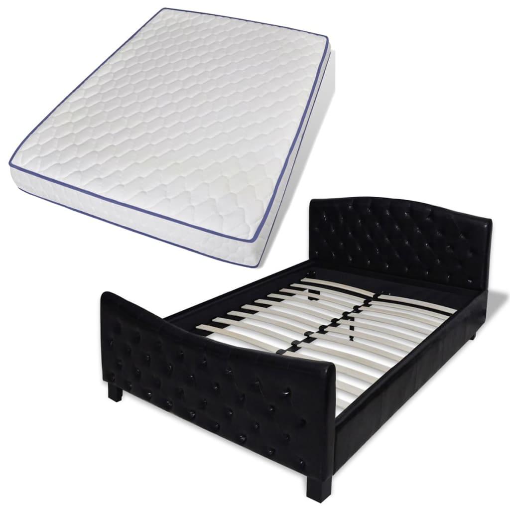 vidaXL Podwójne łóżko z materacem memory 140 x 200 cm, czarne