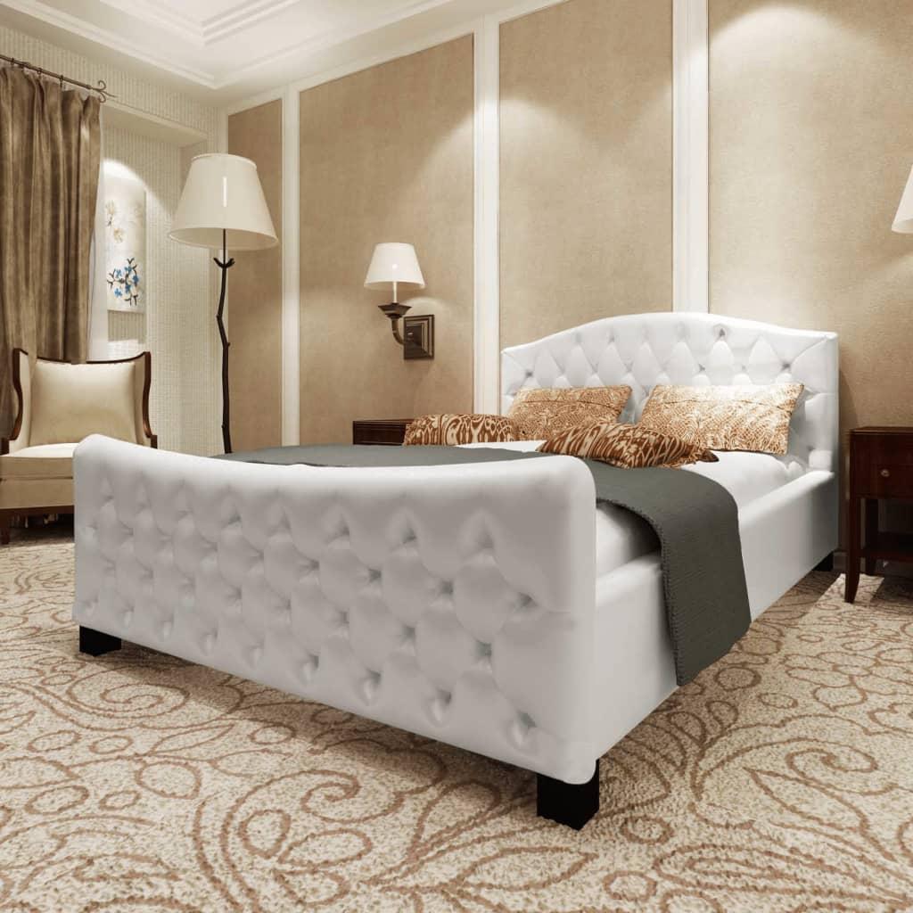 vidaXL 180x200 cm fehér műbőr franciaágy matraccal