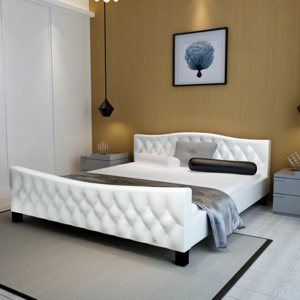 vidaXL 140x200 cm fehér műbőr franciaágy matraccal