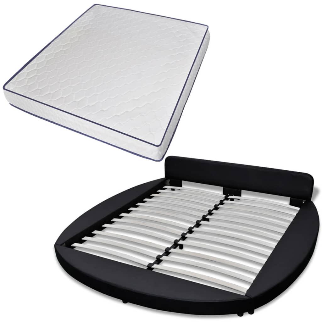 vidaXL Okrągłe łóżko ze sztucznej skóry z materacem 180x200, czarne