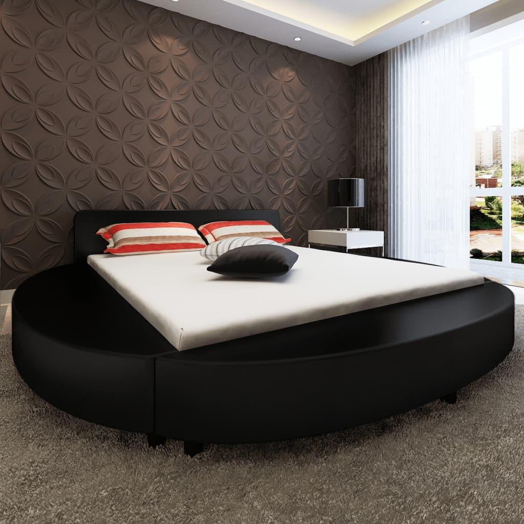vidaXL fekete kerek műbőr matracos LED-es ágy 180 x 200 cm