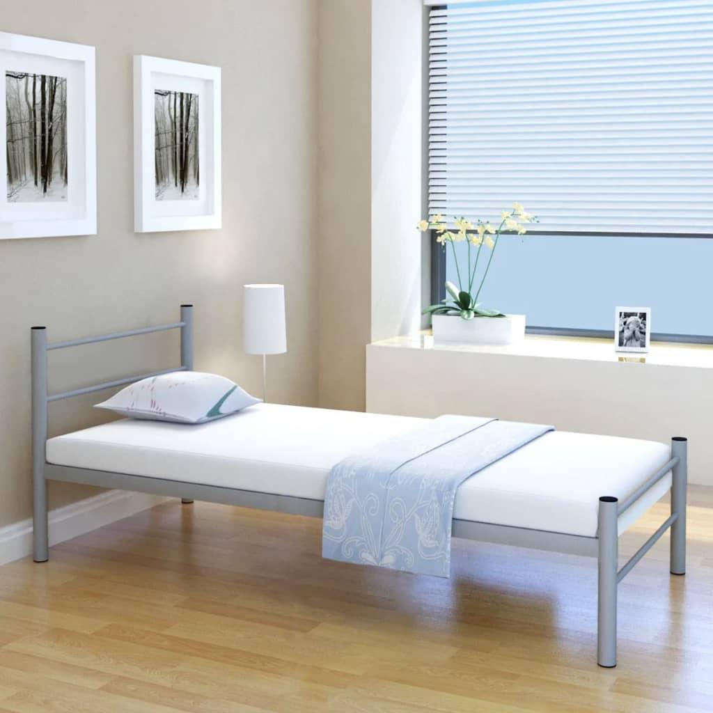 vidaXL 90x200 cm egyszemélyes metálszürke ágy memóriahabos matraccal