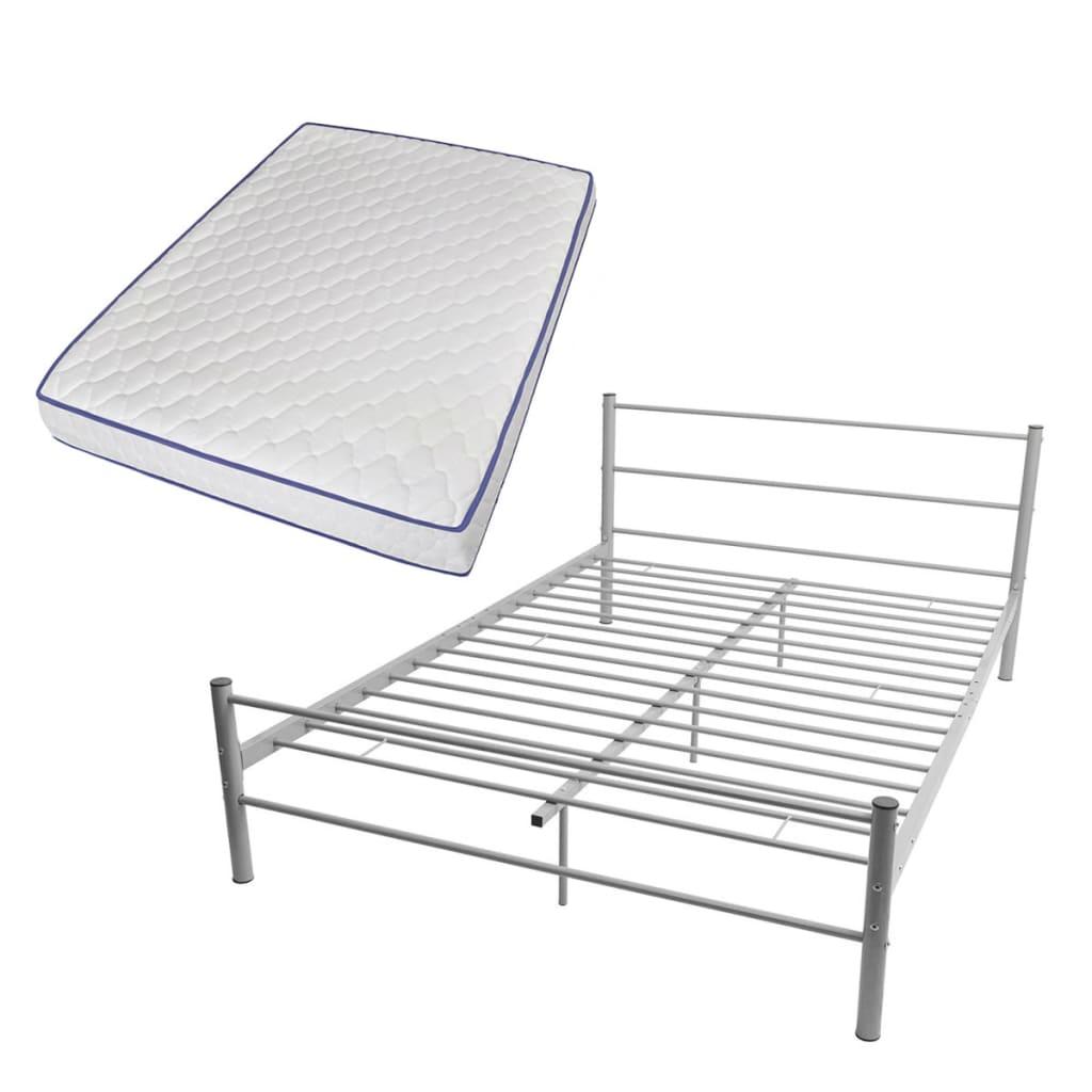 vidaXL Podwójne łóżko metalowe z materacem Memory Foam 140x200cm szare