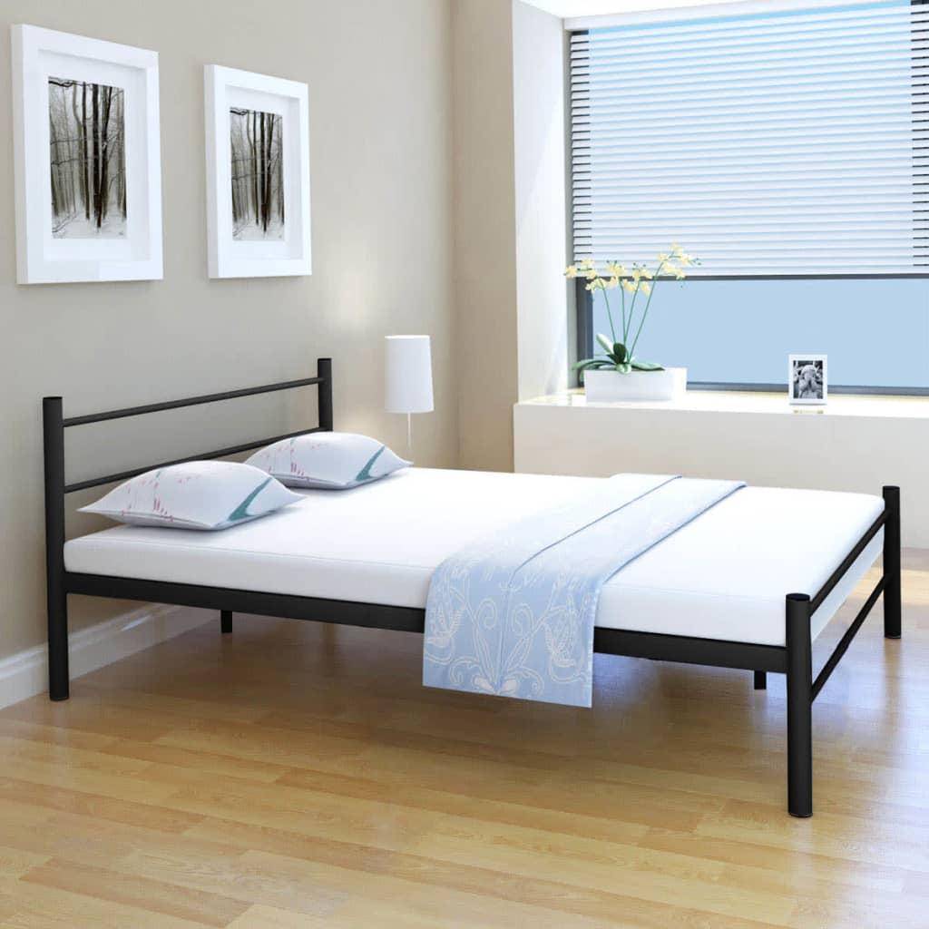 vidaXL fekete fém franciaágy memóriahabos matraccal 140 x 200 cm