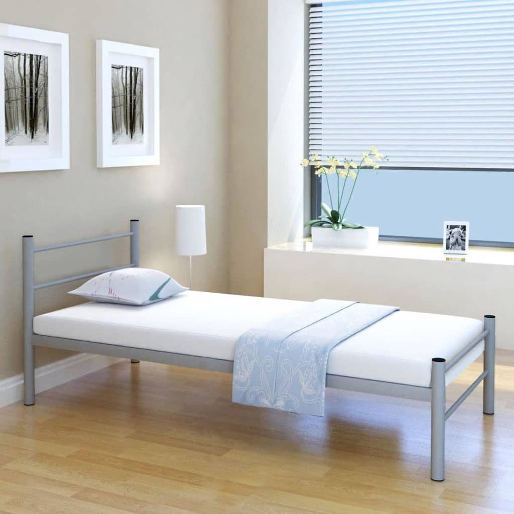 acheter vidaxl lit simple et matelas m tal gris 90 x 200 cm pas cher. Black Bedroom Furniture Sets. Home Design Ideas