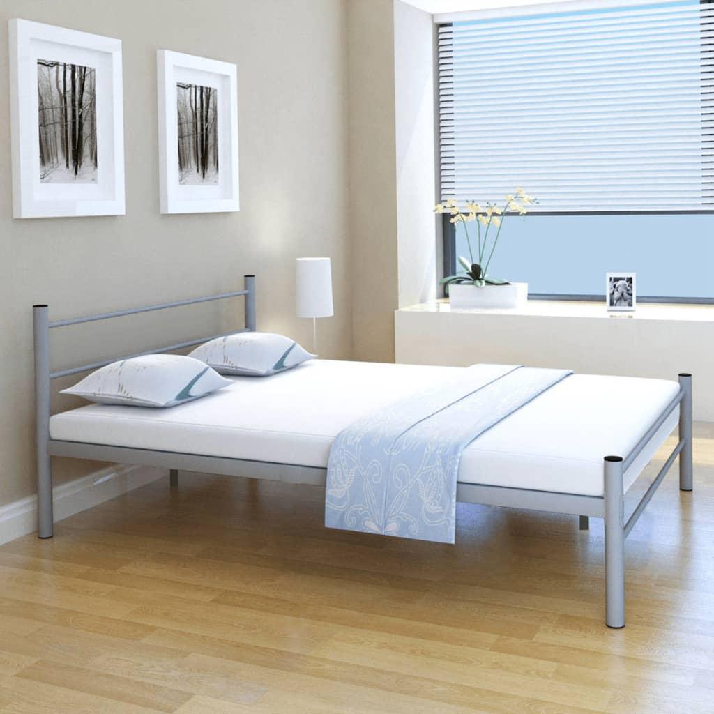 vidaXL Podwójne metalowe łóżko z materacem 140x200 cm, szare