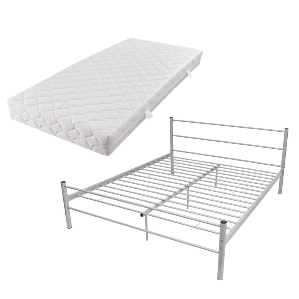 acheter vidaxl lit double avec matelas m tal gris 160 x 200cm pas cher. Black Bedroom Furniture Sets. Home Design Ideas
