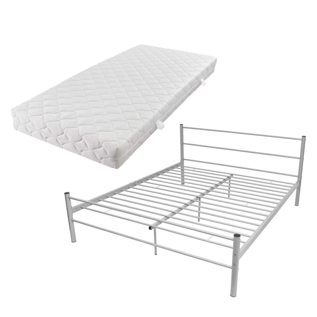 acheter vidaxl lit double avec matelas m tal gris 180 x 200cm pas cher. Black Bedroom Furniture Sets. Home Design Ideas