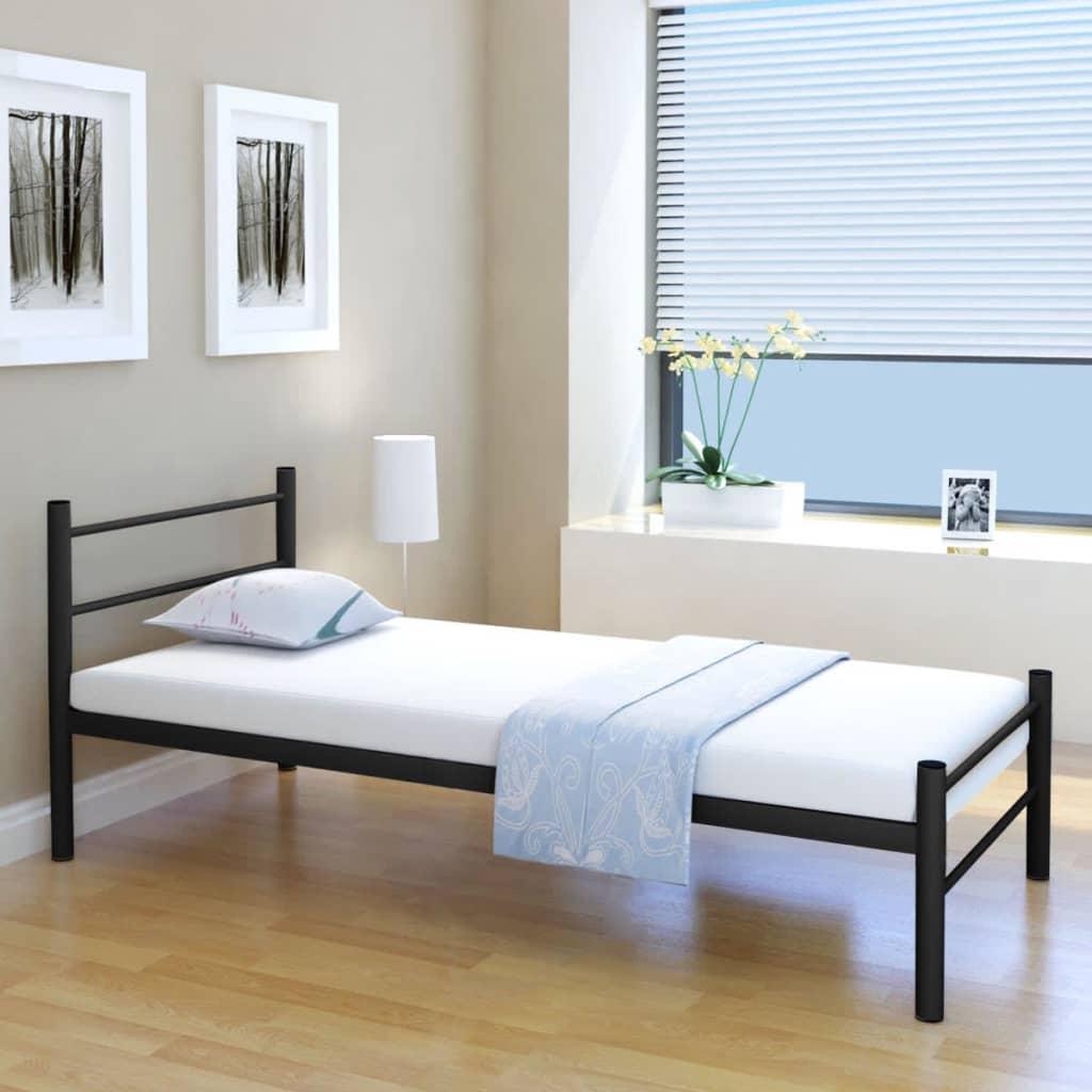 vidaXL 90x200 cm-es egyszemélyes fekete fém ágykeret matraccal
