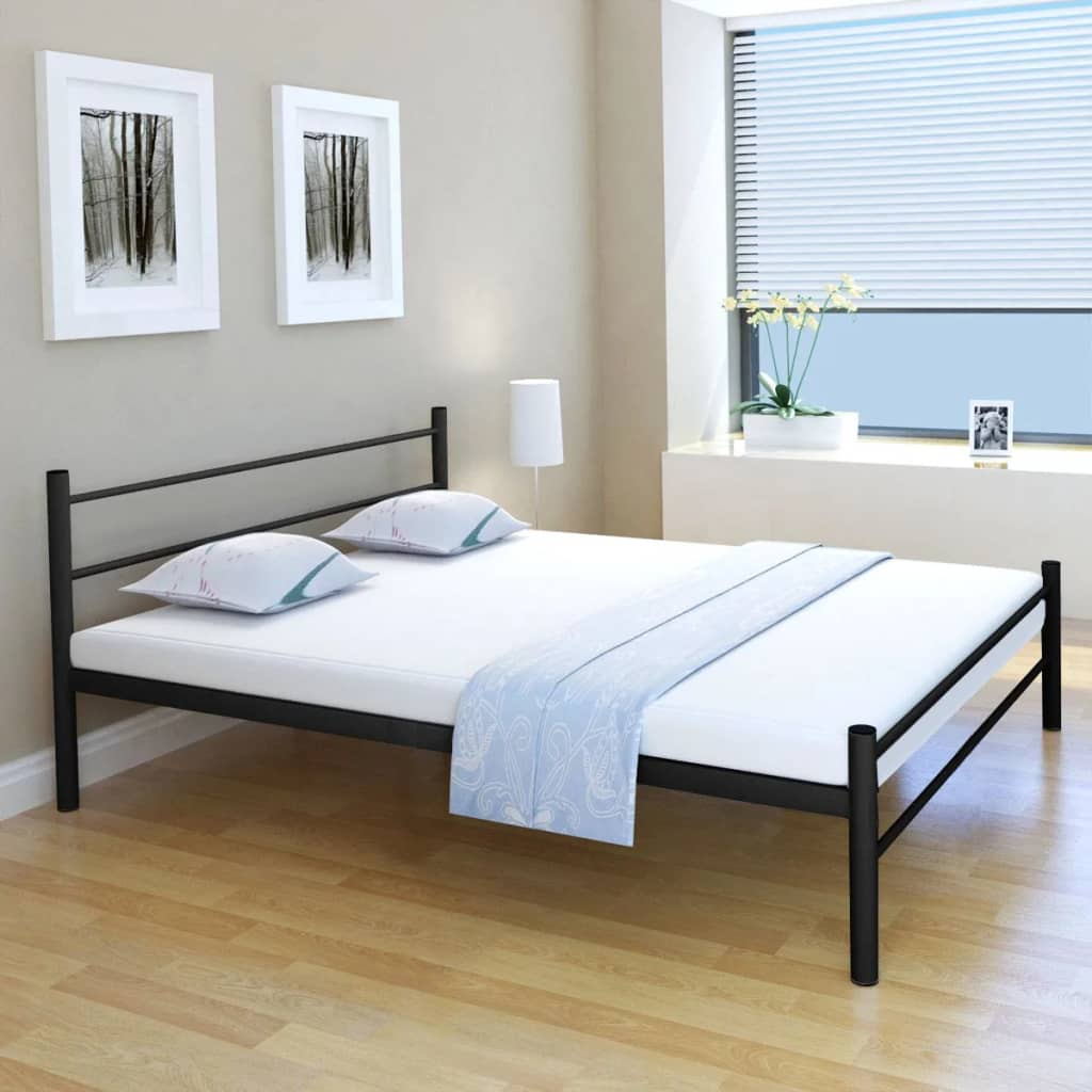 acheter vidaxl lit double avec matelas m tal noir 160 x 200cm pas cher. Black Bedroom Furniture Sets. Home Design Ideas