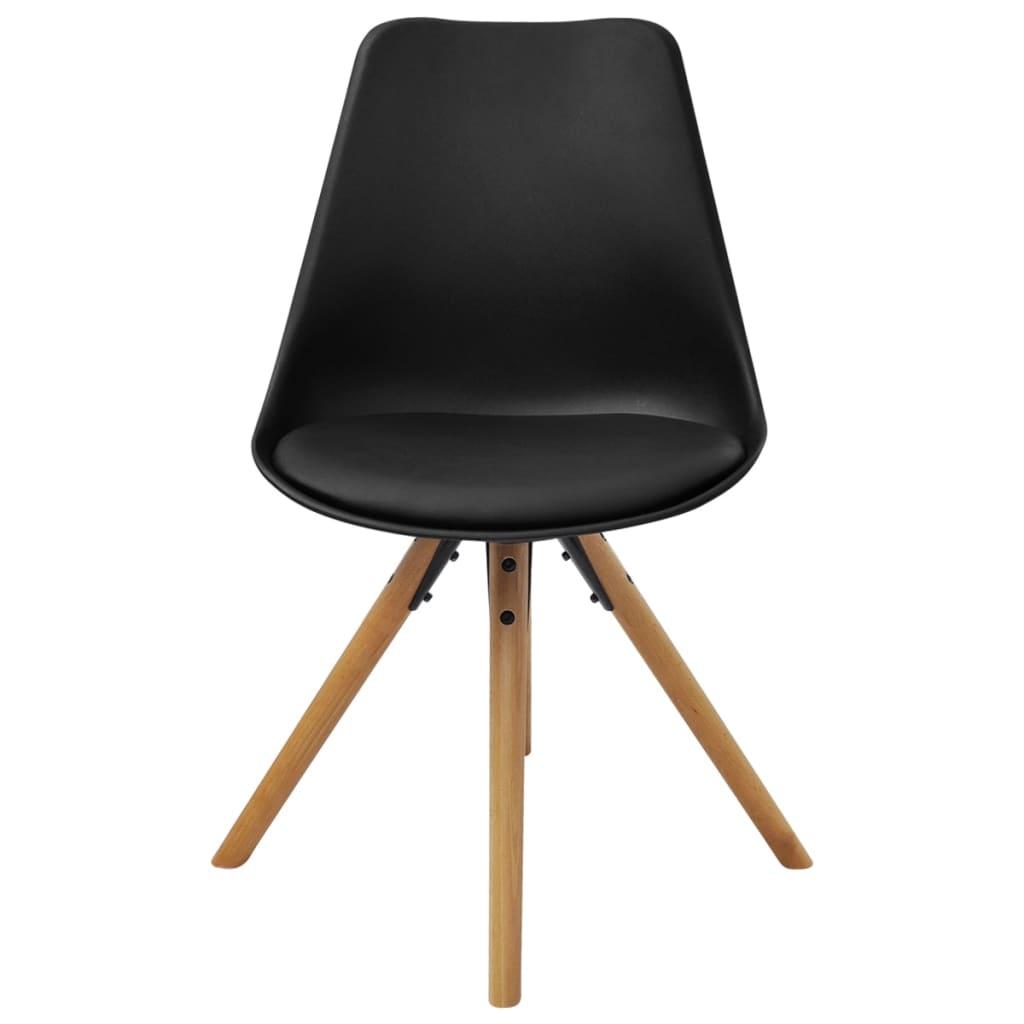 Vidaxl sillas de comedor 6 unidades cuero artificial negro for Sillas para bolear zapatos