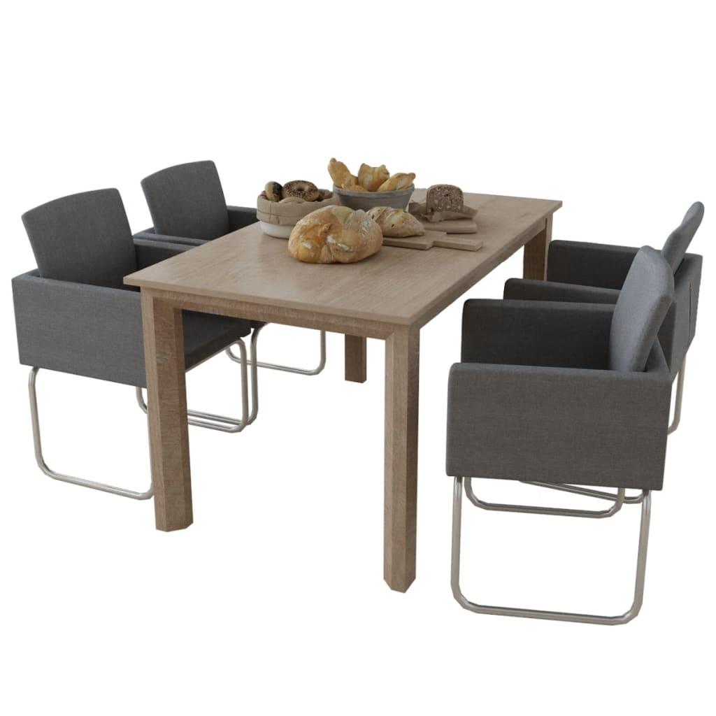 vidaXL Set of 4 Dining Chairs Fabric Upholstery Wooden Armch
