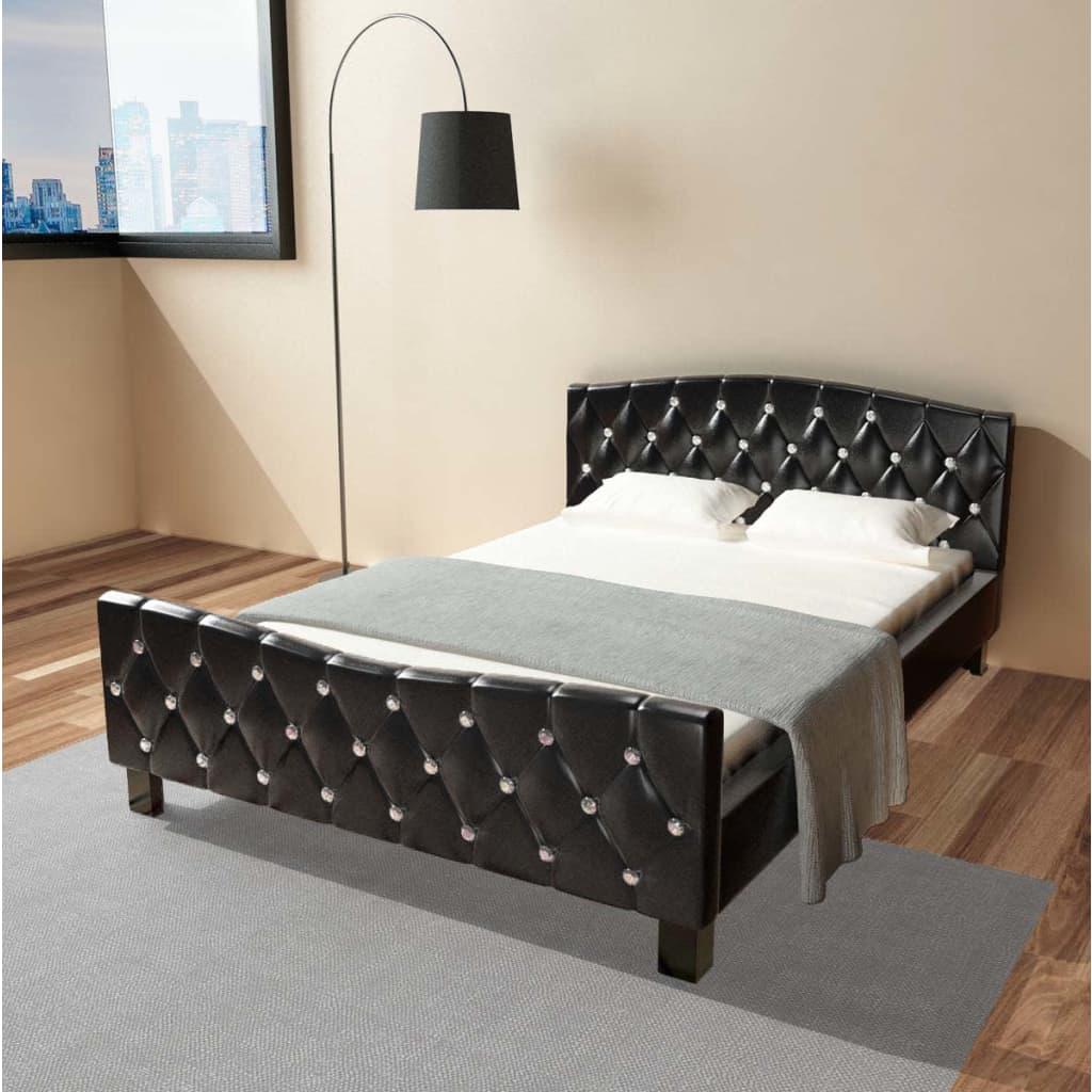 vidaXL fekete franciaágy memóriahabos matraccal 140 x 200 cm