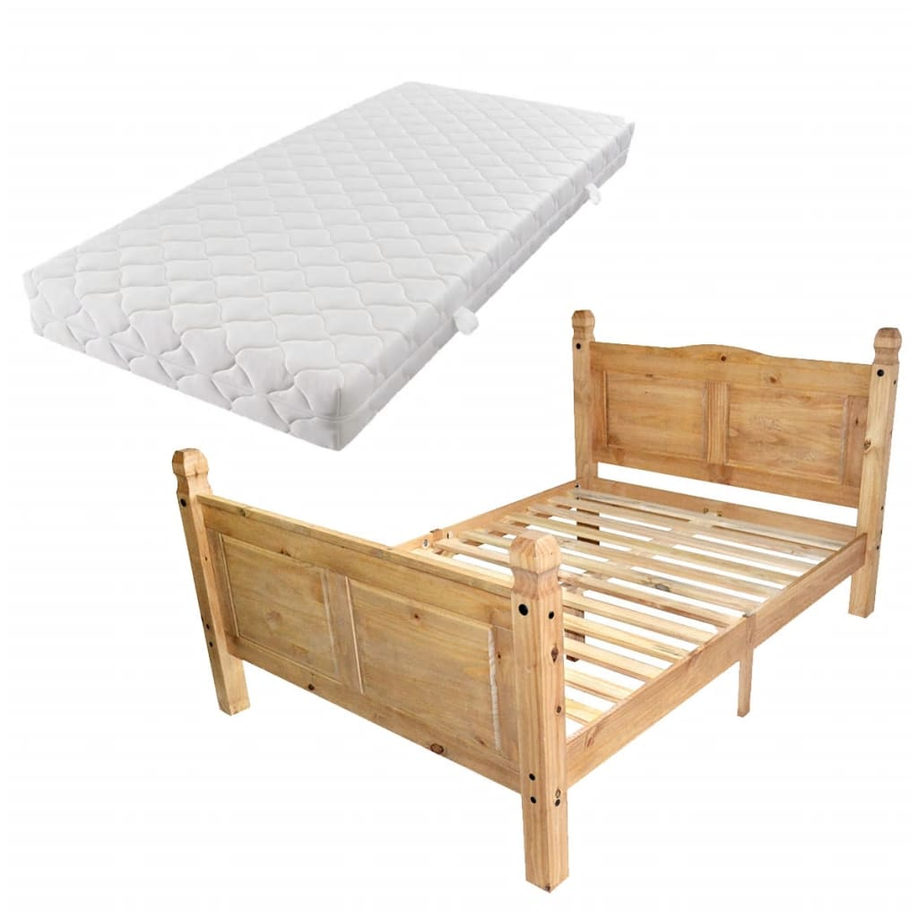 vidaXL Bed en matras Mexicaans grenenhout Corona-stijl 140x200 cm