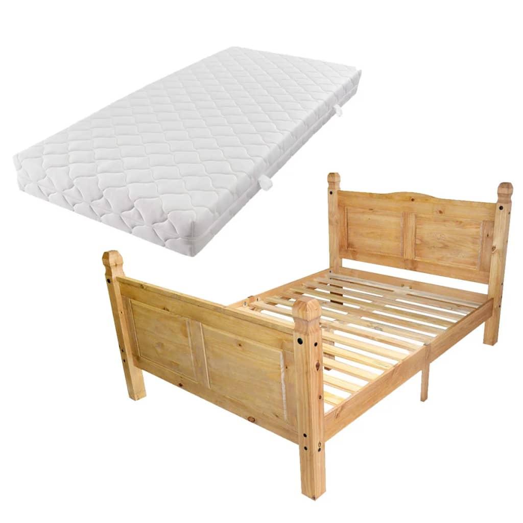 acheter vidaxl cadre de lit avec matelas pin mexicain corona 160 x 200 cm pas cher. Black Bedroom Furniture Sets. Home Design Ideas