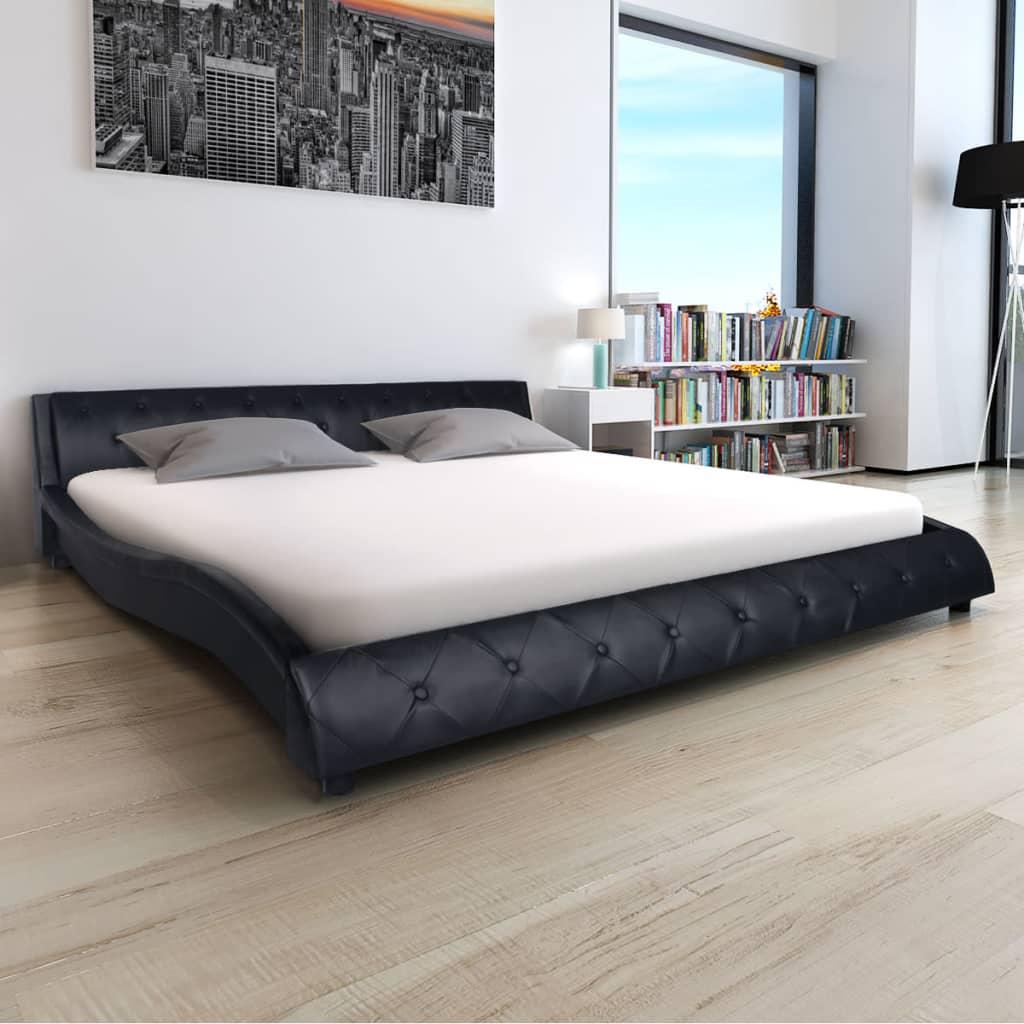 vidaXL 180x200 cm-es fekete műbőr ágy matraccal