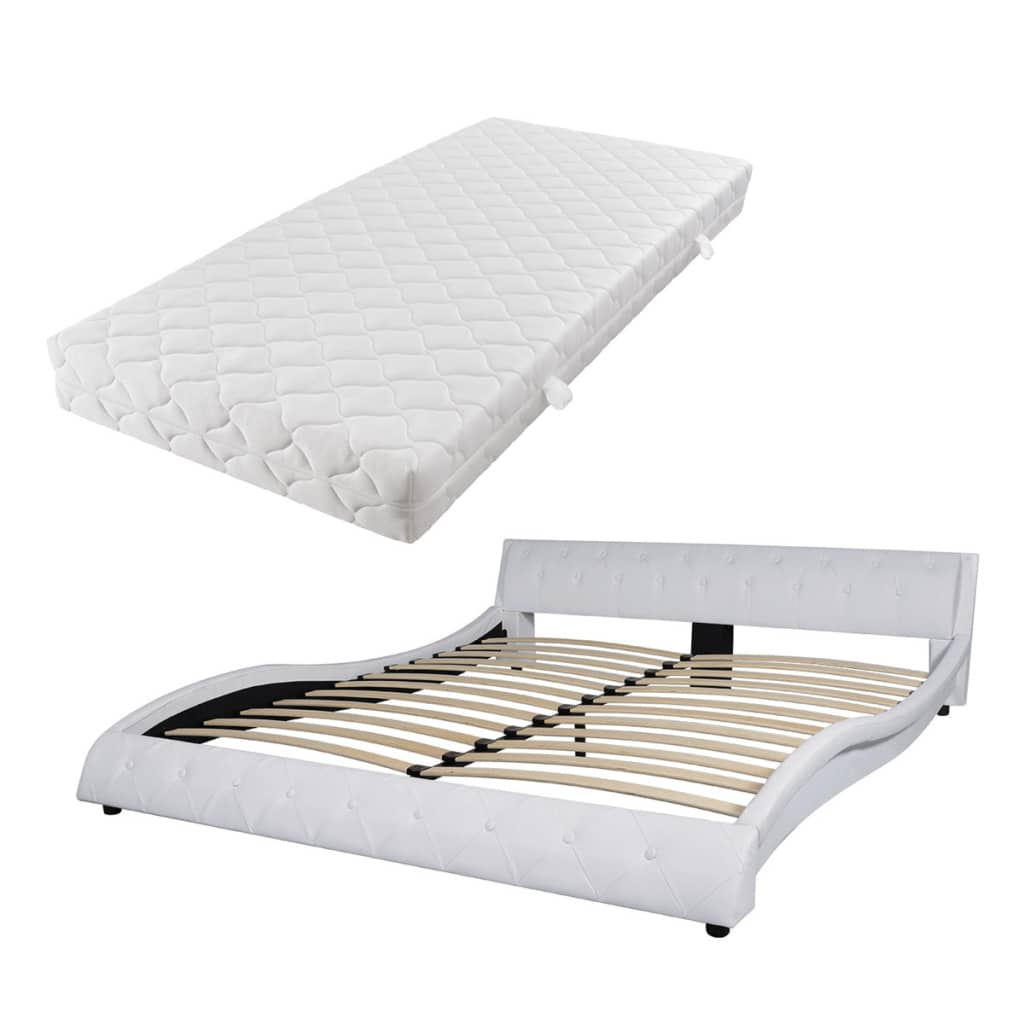 acheter vidaxl lit avec matelas 180 x 200 cm cuir artificiel blanc pas cher. Black Bedroom Furniture Sets. Home Design Ideas