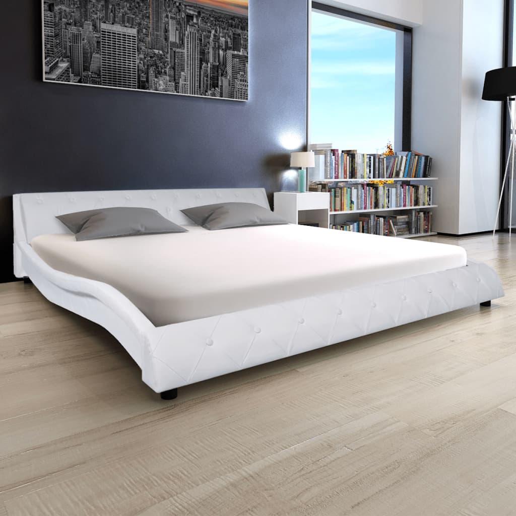 vidaXL 180x200 cm-es fehér műbőr ágy matraccal