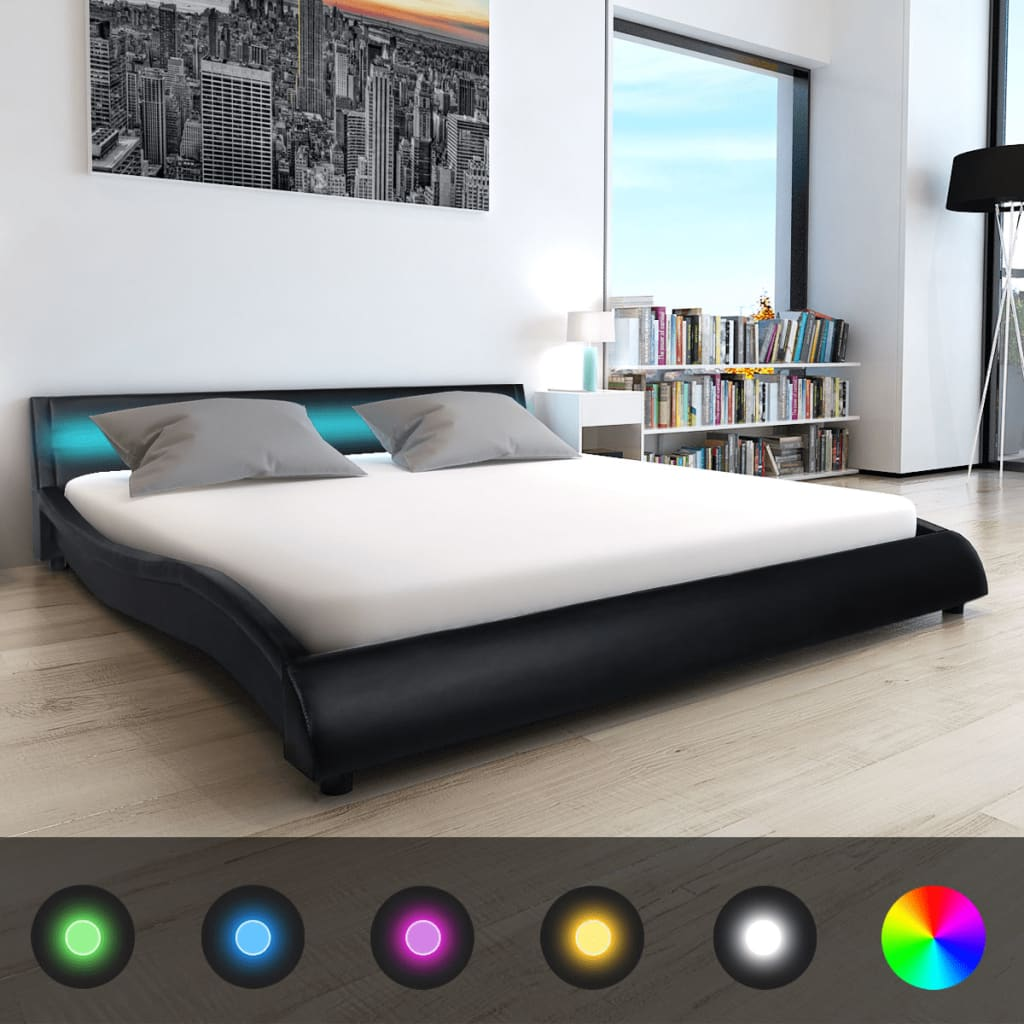 vidaxl led bett matratze kunstleder 180 x 200 cm schwarz g nstig kaufen. Black Bedroom Furniture Sets. Home Design Ideas