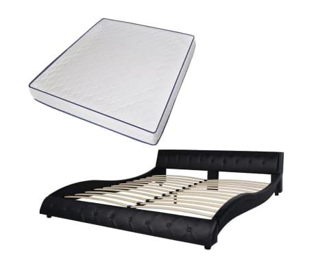 vidaxl bett memory schaum matratze kunstleder 180 cm. Black Bedroom Furniture Sets. Home Design Ideas