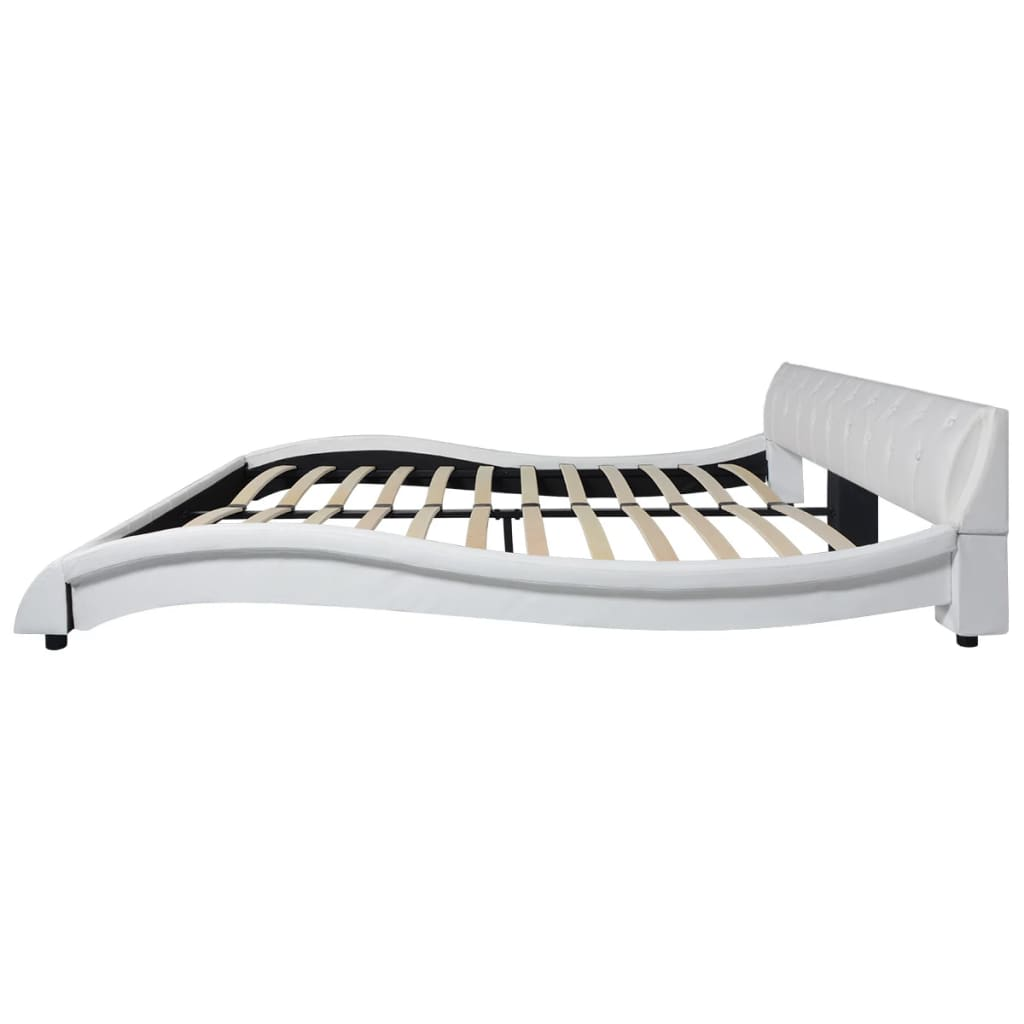 acheter vidaxl lit et matelas mousse m moire de forme 180cm cuir artificiel blanc pas cher. Black Bedroom Furniture Sets. Home Design Ideas