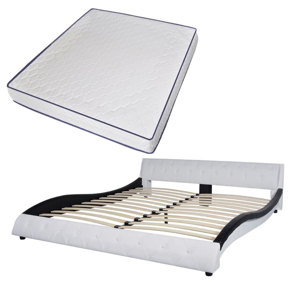 vidaXL Bed & traagschuim matras kunstleer 180 cm wit zwart