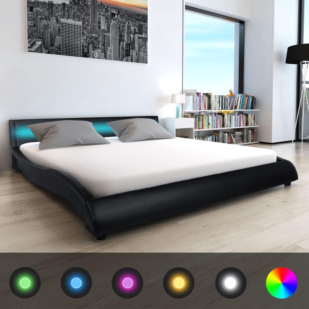 vidaXL 180x200 cm-es fekete műbőr ágy memóriahabos matraccal LED-del