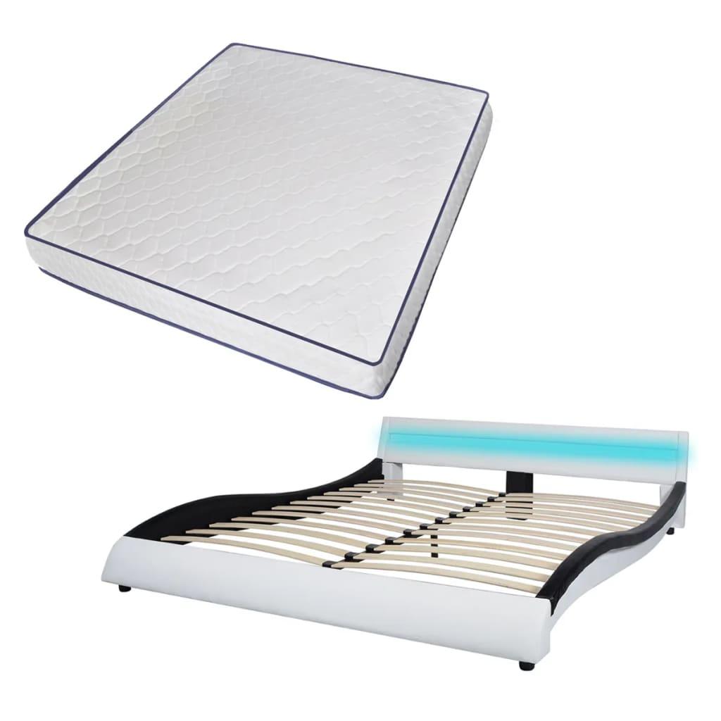 vidaXL Bed met LED en traagschuim matras kunstleer 180 cm wit zwart