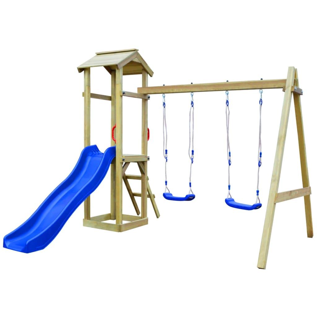 vidaXL Children Playhouse Set with Slide Ladder Swings Climbing ...