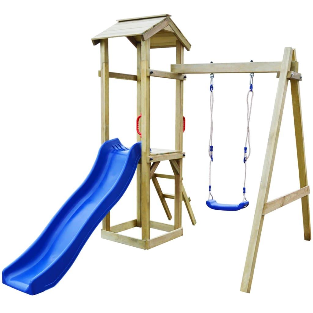 vidaXL Children Playhouse Set with Slide Ladder Swing Climbing Frame ...